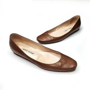 Manolo Blahnik Brown Round Toe Ballet Flats